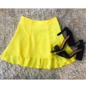 ASOS Yellow Ruffle Mini Skirt